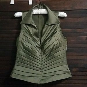 Cache Satin Sheen Bodycon Fitted Army Green Top 12